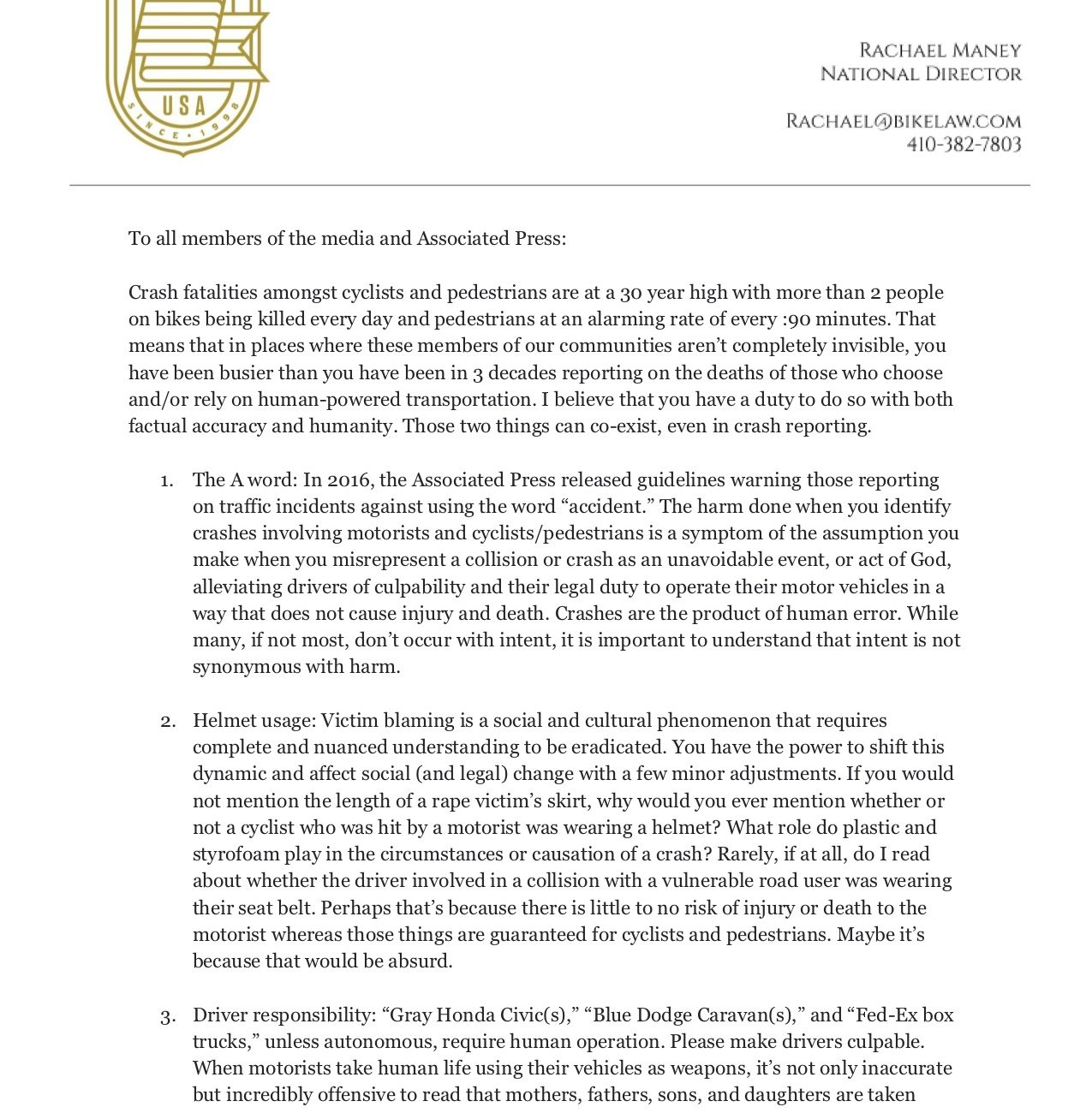 Letter to Media Page 1